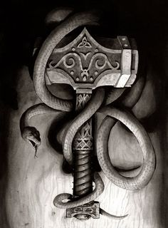 The hammer of Thor. And a snake with name Joermungandr. Rolls off the tounge, eh. Done with ink, from last illustration class.