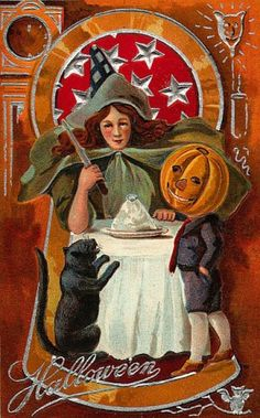 Cat, Witch, And Pumpkinhead