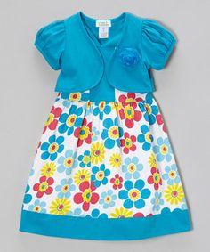Love this Littoe Potatoes Turquoise Daisy Dress & Shrug - Toddler & Girls by Littoe Potatoes on #zulily! #zulilyfinds