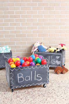 DIY: rolling chalkboard toy box