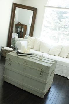 might paint my vintage trunk plain white like this