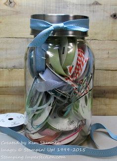 #Craft #Storage ideas: #craftroom #organization. #repurpose #reuse #recycle jars, cups & containers - storage for #twine, #ribbon, #paperscraps or  #fabricscraps