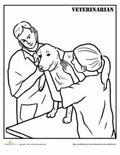 Veterinarian Coloring Page Community WorkersCommunity HelpersColoring