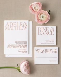 Fabulous Gold Foil Invitations; on trend using this year's pantone colour, Rose Quartz