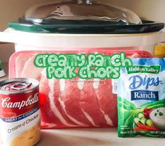 Prep time  5 mins      Cook time  4 hours      Total time  4 hours 5 mins      This simple 3 ingredient crockpot recipe makes a delicious meal when served over egg noodles with a salad on the side.        Serves: 4 pork chops        Ingredients     	1 lb boneless
