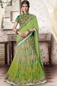 Green Bhagalpuri Printed Silk Designer Lehenga