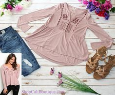 Cali Boutique | FREE U.S. shipping | I'm Blushing Top, Distressed Skinny Jeans, Shoes not for sale.