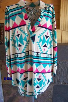 Aztec slit neck rolled sleeve top Cowgirl style plus size 2X
