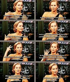 Too Funny. Jennifer Lawrence talking about chopping wood (more then likely about the Tracker Jacker scene in the Hunger Games)