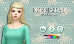 """Mon Hair V2 by SimductionNew hair for females. Base game compatible, Comes in 18 colors, hat compatible. Feel free to recolour! """" This hair is 50% made from scratch and it's inspired by Mon Laferte..."""