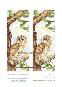 SIGNET NUMÉRIQUE OWL. (Marque-Pages Chouette). Papier numérique. Imprimable, Papier artisanal, Ephemera, Shabby Chic, Collage, Découplage, Scrapbook