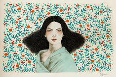 Eufemia Art Print by Sofia Bonati Art Inspo, Inspiration Art, Portraits Illustrés, Sofia Bonati, Portrait Illustration, Klimt, Art Design, Art Plastique, Framed Art Prints