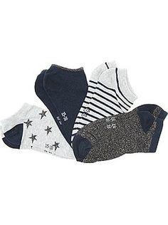 Collants, chaussettes - Lot 4 socquettes paillettes et rayures - Kiabi