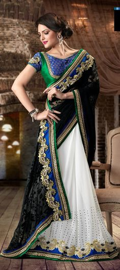 100206, Party Wear Sarees, Embroidered Sarees, Georgette, Brasso, Zari, Thread, Machine Embroidery, Gota Patti, Resham, Black and Grey, White and Off White Color Family
