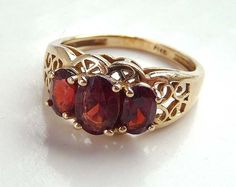 14K Vintage Ring w Red Tourmaline Oval Faceted by thejewelseeker, $254.15