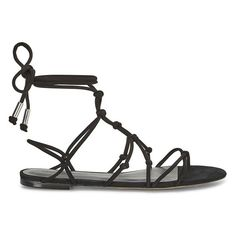 Rebecca Minkoff Elyssa Sandal found on Polyvore featuring shoes, sandals, black, suede lace up sandals, black strap sandals, strappy lace up sandals, black sandals and black flat shoes