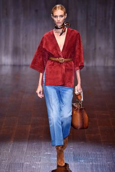 The new denim fit for 2015? This slightly cropped, crisply ironed, cornflower-blue, '70s style. (Best worn with suede boots, of course.) Gucci