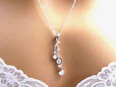 Long Cubic Zirconia Necklace Art Nouveau CZ
