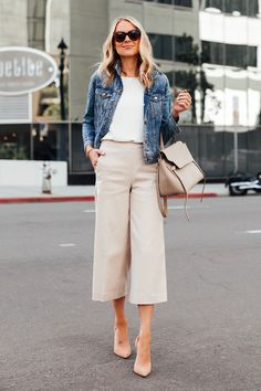 Fashion Jackson Wearing Denim Jacket White Top Ann Taylor Khaki Cropped Pants Nude Heels Celine Mini Belt Bag
