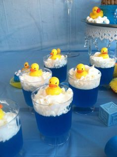 Rubber Ducky jello | CatchMyParty.com - Blue Jello with Cool Whip for 'bubbles' & rubber ducky sitting on top of topping