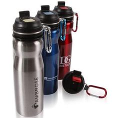 Rugged yet soft, this 24 oz. 18/8 stainless steel water bottle has a rubber mouth piece and flip up spout with straw. With the matching carabiner you are ready for adventure. $7.43