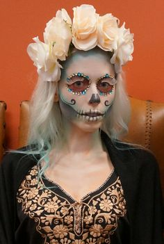 Turquoise SUGAR SKULL face paint