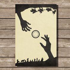 Herr der Ringe-Film-Poster Fellowship Art print Lotr Poster Film Kunst Fan Kunst Hobbit Gollum Ring Erscheinungen schwarz Dieser Druck ist ein Flip-flop-Druck. Es kann zwei verschiedene Arten angezeigt werden Dieser Druck wurde mit archival Pigmenttinten und auf Archivierung, schweres, mattes Papier gedruckt wird. Alle Drucke sind für den Versand mit Weichgewebe umhüllen und haltbare Schläuche sorgfältig verpackt. ........................................................................