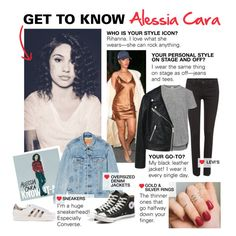 """""""Get to Know: Alessia Cara"""" by polyvore-editorial ❤ liked on Polyvore featuring Levi's, Iris & Ink, Converse, adidas Originals, MANGO and alessiacara"""
