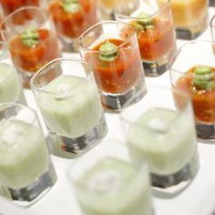 Destination Wedding where the weather is warm... Shots of Gazpacho and Chilled Cucumber Soup,perfectly elegant