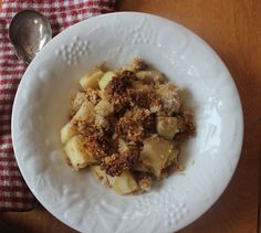 Paleo Apple Skillet Crumble- Grain free, mostly dairy free.