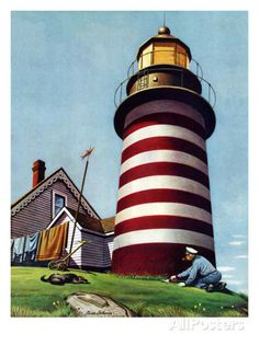 """Lighthouse Keeper,"" September 22, 1945 by Stevan Dohanos"