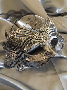 Mask Masquerade Mask Steampunk Halloween Mask Mardi Gras Mask Fantasy Mask Watch Gears Steampunk Costume Michanical Cosplay Unisex by LuckySteamPunk