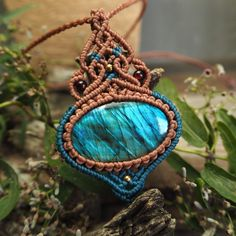 Macrame Necklace Pendant Labradorite Stone Cotton Waxed Cord handmade #Handmade #Wrap