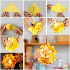 The Japanesekusudamais a paper model that is usually created by sewing or gluing multiple identical pyramidal units (usually stylized flowers folded from square paper) together through their points to form a spherical shape. Here is a nice DIY tutorial on how to make an origami kusudama decoration. It's very simple …