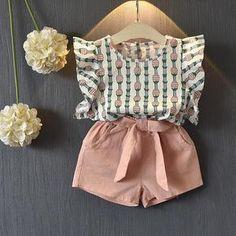 Conjunto de niña de 2 piezas, camisa y pantalón | Temporada de verano | mamyka collection conjunto niña mamyka- moda infantil az1580- pink 3T
