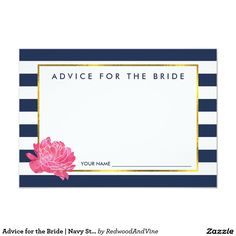 Advice for the Bride | Navy Stripe & Pink Peony 3.5x5 Paper Invitation Card