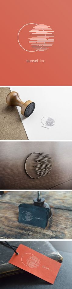 Sunset Inc. What a cool idea! The minimalist style makes sure it'll… – corporate branding identity Logo And Identity, Logo Branding, Branding Agency, Brand Identity Design, Graphic Design Branding, Typography Logo, Typography Design, 3d Logo, Logo Desing