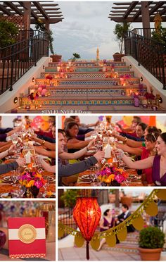 Moroccan-themed wedding. Love the stairway!