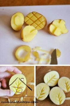 kartoffeldruck Arts and Crafts with Potatoes fabric painting Arts crafts fabric painting ideas kartoffeldruck Potatoes Potato Print, Potato Stamp, Arts And Crafts Projects, Diy And Crafts, Crafts For Kids, Decor Crafts, Diy Projects, Easter Crafts, Vegetable Prints