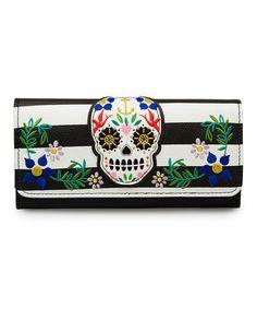 Love this Black & White Stripe Sugar Skull Wallet by Loungefly on #zulily! #zulilyfinds