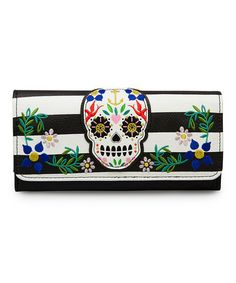 Love this Black & White Stripe Sugar Skull Wallet by Loungefly on #zulily! #zulilyfinds