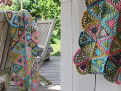 Facile Cecile's triangle afghan Edie Eckman pattern from 150 Grannies in french
