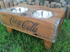 upcycled crate dog feeder