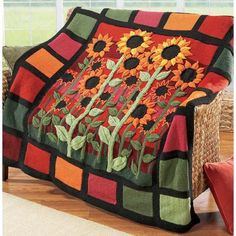 Great Sunflower Afghan!  From a distance, I thought it was a sewn quilt! Wonderful detailing!