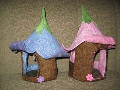 Fairy houses:  I made these fairy houses without any pattern, but just stumbled on this today:  http://magicthreads.com/magicthreads/index.php?main_page=product_info=1_id=30