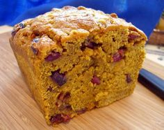 Vegan Pumpkin Loaf (It smells and looks amazing!  Raised up high like a real loaf of bread!  I substituted 1/4 c peach sauce for applesauce & 1/2 agave nectar for the maple syrup.)