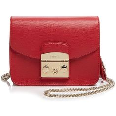 Furla Metropolis Mini Crossbody (5,600 MXN) ❤ liked on Polyvore featuring bags, handbags, shoulder bags, ruby, leather purse, mini crossbody, red leather shoulder bag, red leather purse and leather shoulder handbags