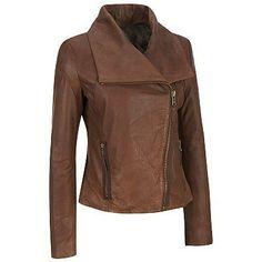 handmade women brown leather jacket, women wide collar leather jacket,  slim style leather jacket brown color, brown biker leather for women...
