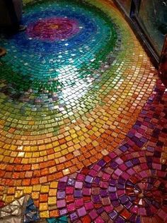 Rainbow Mosaic glass tiles in a mandala pattern on the floor art Paper Mosaic, Mosaic Crafts, Mosaic Projects, Mosaic Art, Mosaic Glass, Mosaic Tiles, Stained Glass, Glass Art, Mosaic Floors