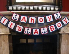Nautical Baby Shower Package Ahoy It's A Boy Banner by KDODesigns